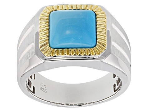 Pre-Owned Blue turquoise rhodium & 18K gold over silver two-tone gent's ring