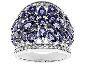 Pre-Owned Purple iolite rhodium over sterling silver ring 3.96ctw