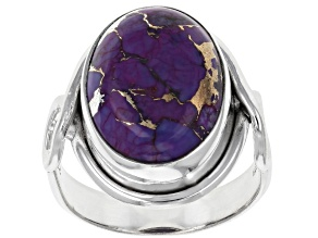 Pre-Owned Purple Turquoise Sterling Silver Solitaire Ring
