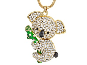 Pre-Owned Multicolor Crystal Green Enamel Gold Tone Koala Pendant With Chain