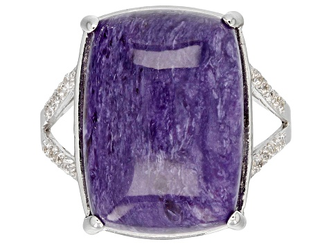 Pre-Owned Purple charoite rhodium over silver ring .23ctw