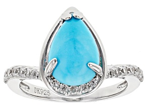 Pre-Owned Blue Turquoise Sterling Silver Ring .59ctw