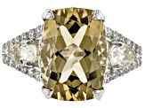 Pre-Owned Brown Champagne Quartz Silver Ring 6.75ctw