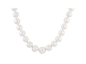 Pre-Owned White Cultured Freshwater Pearl, Diamond Simulant Silver Necklace