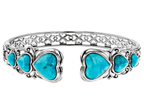 Pre-Owned Blue turquoise rhodium over sterling silver bangle bracelet