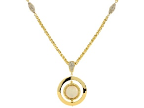 Pre-Owned White Crystal Moonstone Simulant Gold Tone Pendant With Chain