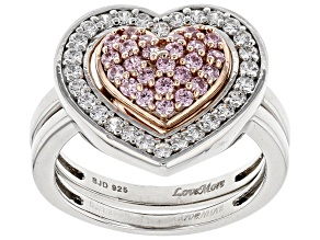Pre-Owned Pink & White Cubic Zirconia Rhodium & 18K Rose Gold Over Silver Ring With Guard 1.51ctw