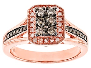 Pre-Owned .50ctw Round Champagne & White Diamond, Engild™, 14k Rose Gold Over Sterling Silver Ring