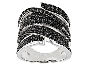 Pre-Owned Black Spinel Sterling Silver Band Ring 2.06ctw