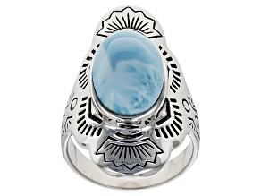 Pre-Owned Blue Larimar Silver Solitaire Ring