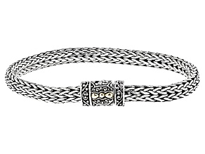 Pre-Owned Silver With 18k Yellow Gold Accent Bracelet