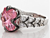 Pre-Owned Pink And White Cubic Zirconia Rhodium Over Sterling Silver Ring 12.83ctw