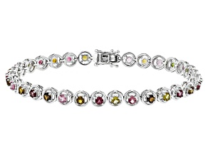 Pre-Owned Multi-Tourmaline Sterling Silver Bracelet 3.13ctw