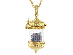 Pre-Owned Multi Color Multi Gemstone 18k Yellow Gold Over Sterling Silver Pendant With Chain 5.00ctw