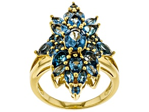 Pre-Owned Blue topaz 18k gold over silver ring 3.78ctw