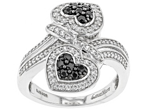 Pre-Owned Black Spinel & White Zircon Rhodium Over Sterling Silver Heart Ring 1.26ctw