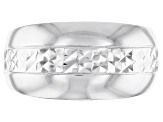 Pre-Owned Sterling Silver Diamond Cut Center High-Polished Band Ring