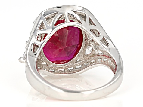 Pre-Owned Synthetic Red Corundum And White Cubic Zirconia Rhodium Over Sterling Silver Ring 17.45ctw