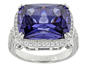 Pre-Owned Blue And White Cubic Zirconia Rhodium Over Sterling Silver Ring 18.98ctw