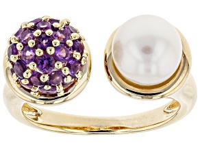 Pre-Owned Cultured Freshwater Pearl And Amethyst 18k Yellow Gold Over Silver Ring