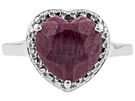 Pre-Owned Red India ruby rhodium over silver ring 2.95ct
