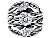 Pre-Owned White Cubic Zirconia Rhodium Over Sterling Silver Center Design Ring 3.34ctw