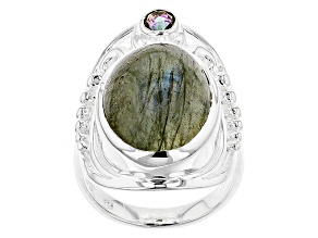 Pre-Owned Gray Labradorite Silver Ring .20ctw