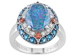 Pre-Owned Multi Color Australian Opal Triplet Sterling Silver Ring .88ctw