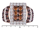 Pre-Owned Brown And White Cubic Zirconia 18k Rose Gold Over Silver Ring 4.58ctw (2.28ctw DEW)