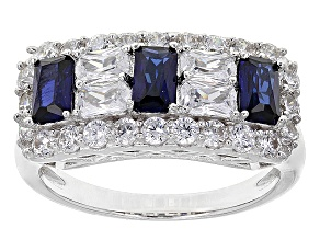 Pre-Owned Synthetic Sapphire And White Cubic Zirconia Silver Ring 2.27ctw