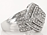 Pre-Owned Rhodium Over Sterling Silver Diamond Ring 1.01ctw