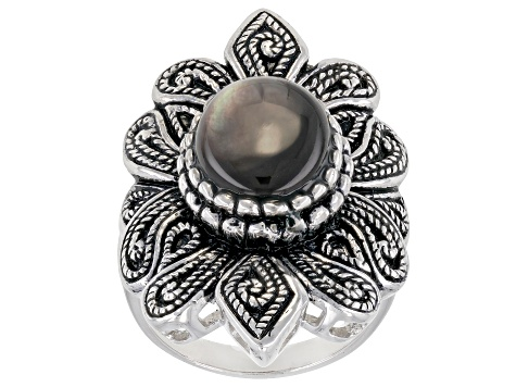 Pre-Owned 10-12mm Grey Mother of Pearl, Rhodium Over Sterling Silver Ring