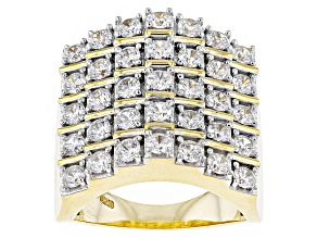 Pre-Owned Cubic Zirconia 18k Yellow Gold Over Silver Ring 4.10ctw (2.10ctw DEW)