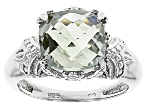 Pre-Owned Green Praisolite Ring Rhodium Over Silver Ring 3.80ct