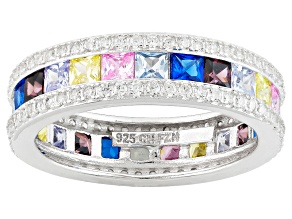 Pre-Owned Multi Color Cubic Zirconia Rhodium Over Silver Ring 4.84ctw