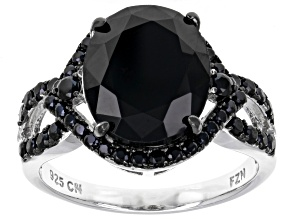Pre-Owned Black Spinel Rhodium Over Sterling Silver Ring 5.58ctw