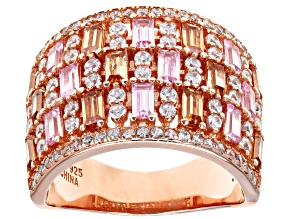Pre-Owned White Brown and Pink Cubic Zirconia 18k Rose Gold Over Sterling Silver Ring 4.80ctw
