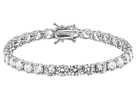 Pre-Owned White Cubic Zirconia Rhodium Over Sterling Silver Bracelet 27.65ctw