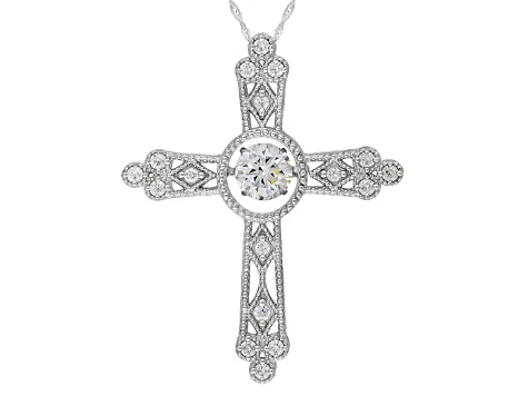Pre-Owned Cubic Zirconia Silver Cross Pendant With Chain 3.40ctw (1.77ctw DEW)