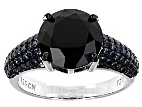 Pre-Owned Black Spinel Rhodium Over Sterling Silver Ring 5.11ctw