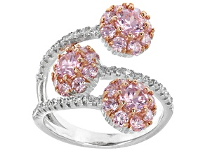Pre-Owned Pink And White Cubic Zirconia Silver Ring 4.04ctw