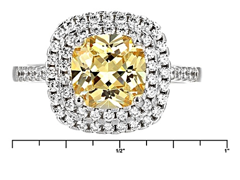 Pre-Owned Yellow And White Cubic Zirconia Rhodium Over Sterling Silver Jewelry Set 11.10ctw