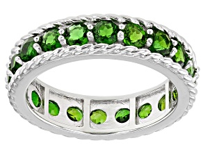 Pre-Owned Green Chrome Diopside Rhodium Over Silver Eternity Band 2.50ctw