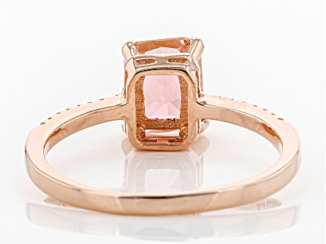 Pre-Owned Peach Glass And White Cubic Zirconia 18k Rg Over Sterling Silver Ring 3.11ctw