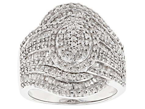 Jtv Diamond Rings >> Pre Owned Rhodium Over Sterling Silver Diamond Ring 1 63ctw
