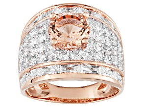 Pre-Owned Morganite Simulant and White Cubic Zirconia 18k Rose Gold Over Sterling Silver Ring 9.76ct