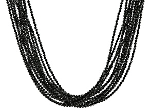 Pre-Owned Black Spinel Sterling Silver Strand Necklace 275ctw