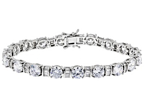 Pre-Owned White Cubic Zirconia Rhodium Over Sterling Silver Tennis Bracelet 26.80ctw