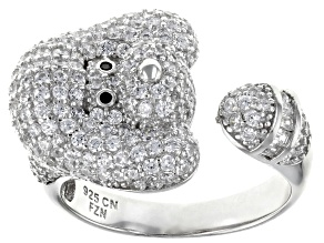 Pre-Owned White Cubic Zirconia Rhodium Over Sterling Silver Dog Ring 2.51ctw