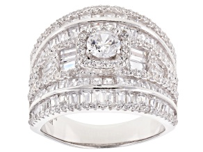 Pre-Owned White Cubic Zirconia Rhodium Over Sterling Silver Cluster Ring 4.92ctw